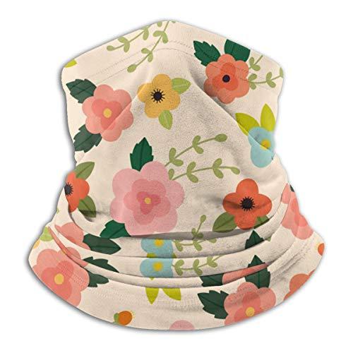 Calentador de Cuello de Microfibra Unisex Vector Patrón Floral Rosa Pasamontañas Sombreros Bufanda para Polvo Viento Protección Solar