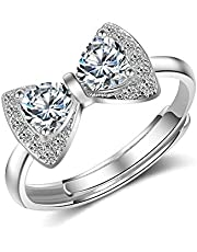 adjustable ring silver 925 pure crystal stones for women