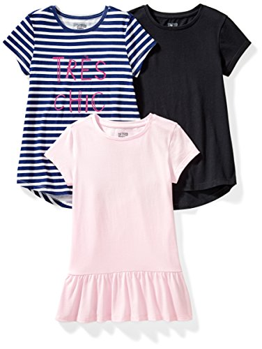 Spotted Zebra 3-Pack Short-Sleeve Tunic Tops fashion-t-shirts, Tres Chic, X-Small (4-5), 3er