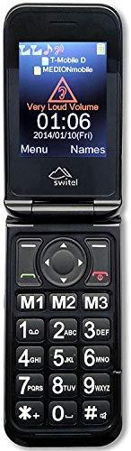 Switel M800 Klapphandy mit SOS-Notruftaste, Klingelton- und Lautstärkeverstärkung, hörgerätekompatibel, Sprachausgabe, zwei Displays, 3G-Standard