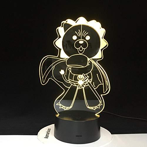3D Illusion Lampe Veilleuse LED Angry Bear Adolescents Usb Optique Le Capteur D'ourson Décor Décor Enfants D'anniversaire Vacances Cadeaux