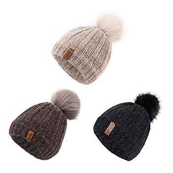 ViGrace Kids Winter Hat Chenille Warm Fleece Lined Pompom Hats Baby Beanie Cap for Girls Boys