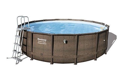 Bestway Power Steel Frame Pool Deluxe Komplettset, rund, braun, 488 x 122 cm