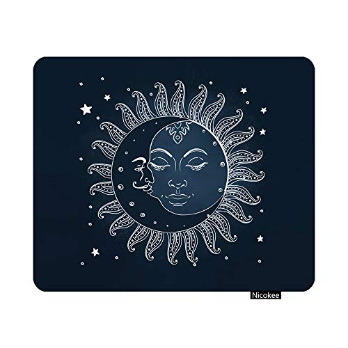 Nicokee Sun and Moon Gaming Mouse Pad Celestial Theme Sun with Crescent Moon Midnight Art Non-Slip Rubber Mouse Pad for Computers, Laptop, Office, Rectangle Personalized Mousepad 9.5 Inch x 7.9 Inch