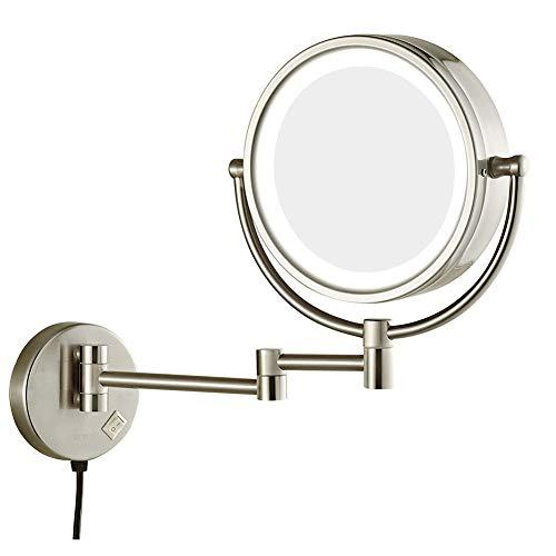 MOZX Miroir De Maquillage,Loupe 3-10X avec Ventouse & Réglable Flexible Col De Cygne 360 ° Miroir De Salle De Bain,Tenture Murale Miroir De Beauté,Brushed Nickel,10x