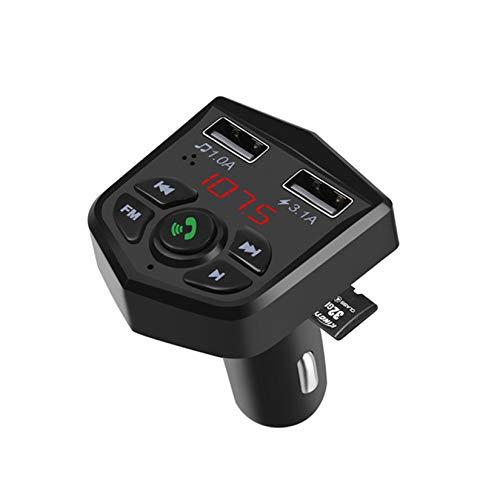 LORIEL Transmisor Bluetooth 5.0 FM - Reproductor de MODULADOR MP3, Receptor con Doble Cargador rápido USB 3.1A Soporte TF TARD/U Reproducción del Disco/Llamada a Mano Libre