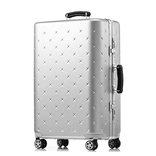 20 inch Cabin Trolley Aluminum Frame Travel Bag High Capacity Retro Rolling Luggage Spinner Men Students Suitcase Wheels,Rose Gold,26'