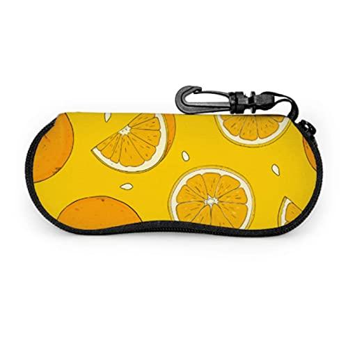 Gses Case, diseño de naranjas, piezas de gafas de sol enteras Funda suave ultra ligera de neopreno con cremallera para los ojos con mosquetón, funda suave para los ojos