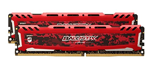 Crucial Ballistix Sport LT Desktop Gaming geheugen (DDR4, DRAM) 2400 MHz CL16 16GB Kit (8GBx2) Single Rank rood