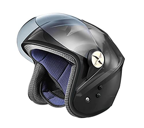 DXMRWJ Uomini e Donne Moto Bluetooth Casco Scooter Motorcycle Cruiser Casco Mezzo Viso Certificato ECE Casco del Ventilatore del condizionatore d'Aria a Carica Solare retrò Aperto Faccia Mezzo Casco