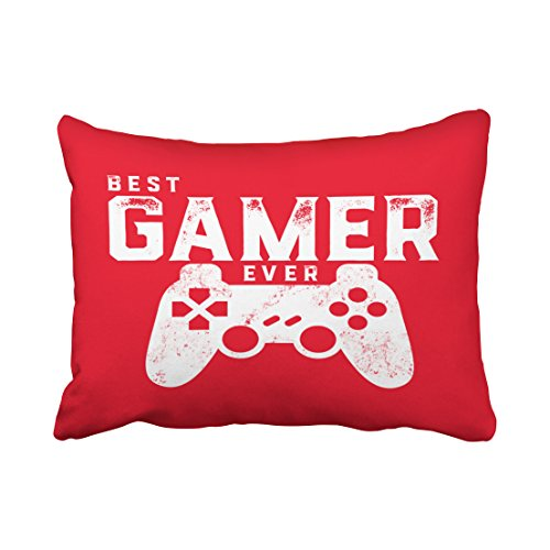 Emvency Decorative Red Throw Pillow Cover Standard Size 20x26 Inches Best Gamer Ever for Video Games Geek Pillowcase with Hidden Zipper Decor Fashion Cushion Gift for Home Sofa Bedroom Couch Car