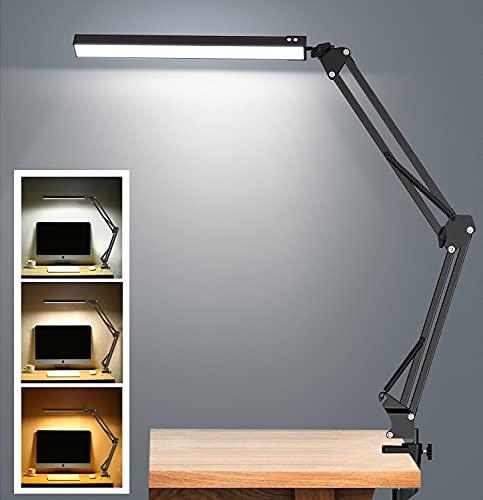 Lampada da Tavolo,Elekin 10W Lampada da Tavolo a Morsetto,Efficienza Energetica Lampada,10 Livelli di Luminosità 3 Modalità,Lampada Pieghevole USB per Testiera,Banco da Lavoro/Attività/Studio