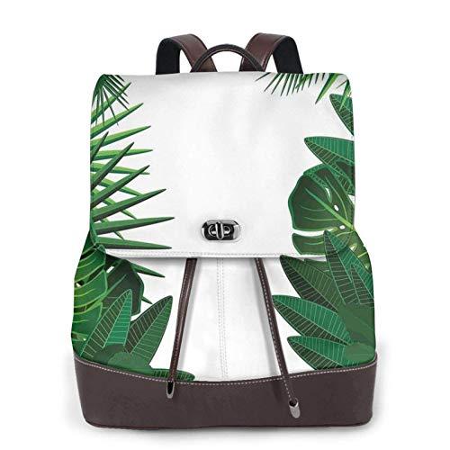 Damen Leder-Rucksack, Exotische Fantasie, hawaiianische tropische Palmblätter-Druck