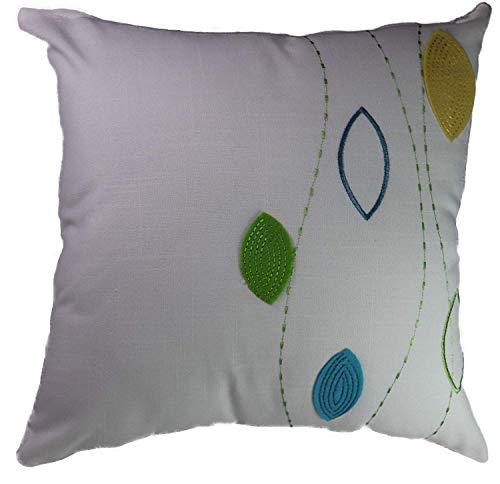 Fortana Kussensloop met bladermotief, decoratief kussen, sierkussen, applicatie, geborduurd, linnenlook, modern design, cadeau-idee ca. 40 x 40 cm wit-groen-geel