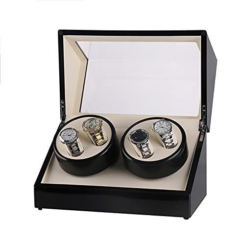 zjyfyfyf Caja de Winder de Reloj automática 4 Espacios sinuosos en la Concha de Madera para Hombres y Mujeres Regalos (Color : Blanco)