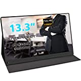 UPERFECT Portable Monitor 13.3 Inch Computer Display 1920×1080 USB C Monitor FHD Eye Care Gaming Screen IPS HDMI Type C OTG Mini DP Smart Cover Speakers for Rpi PS3 PS4 Xbox 360 Laptop Phone PC Mac
