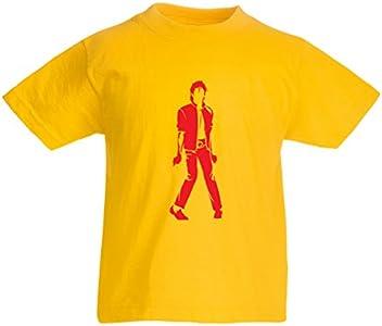 lepni.me Camiseta para Niño/Niña Me Encanta M J - Rey del Pop, 80s, 90s Músicamente Camisa, Ropa de Fiesta (1-2 Years Amarillo Rojo)