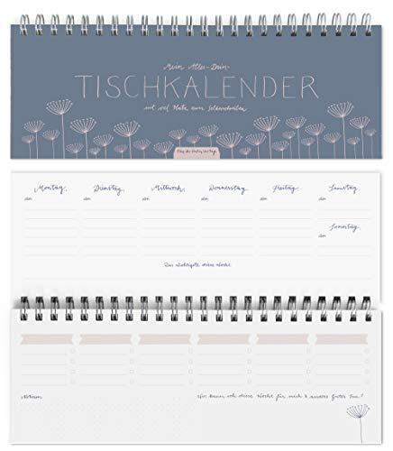 Eine der Guten Design Tischkalender & Wochenplaner, ohne Datum, einfach selbst eintragen und jederzeit beginnen, mit Kalendarium, Blau Rosa, 2 Seiten pro Woche, umweltfreundliches FSC-Papier