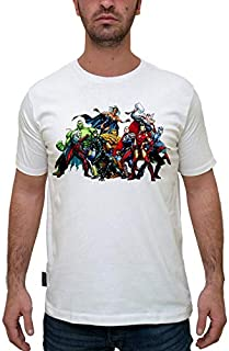Printed Tmws001482 The Avengers: Cartoon T-Shirt For Men-White, Large