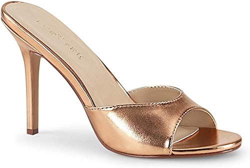 Pleaser Damen CLASSIQUE-01 High Heels Pantolette PU Rose Gold 40 EU