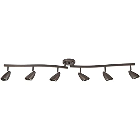 Globe Electric 59376 Grayson 6-Light Adjustable S-Shape Track Lighting, Bronze Color, Oil Rubbed Finish, Bulbs Included