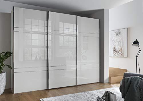 WIEMANN Rialto Kleiderschrank, Schwebetürenschrank, Schlafzimmerschrank, mit Schiebetüren, Breite 250 cm, in weiß, Glas weiß, Holz, B/H/T 250x236x67 cm