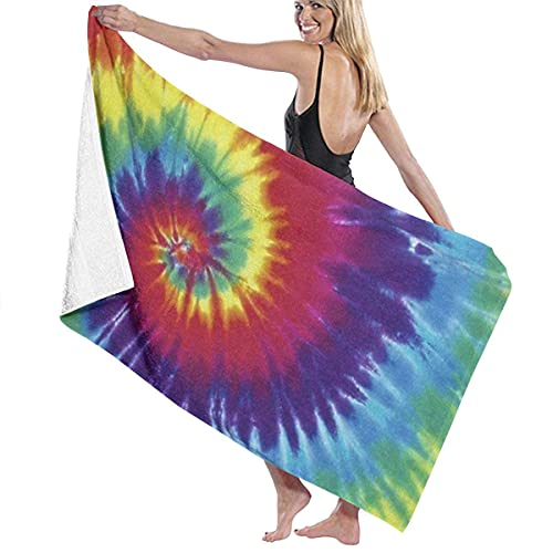 Lsjuee Toalla de Playa de Microfibra 31 'x 51' - Tie Dye 3 Toalla Grande de Secado rápido súper Absorbente sin Arena para baño / Piscina para Nadar, Ducha, Viaje, Gimnasio, Yoga, Acampar