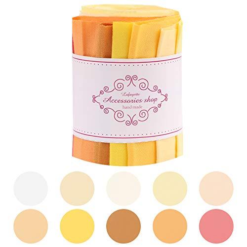 Jelly Rolls, 7,5 x 100 cm Stoff Roll Up, einfarbige DIY Patchwork Baumwolle Jelly Roll Stoffstreifen zum Nähen, Quilten, Basteln, 10 Streifen in einer Rolle Orange