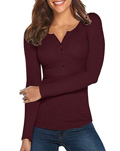 Damen Shirt Langarm V-Ausschnitt Basic Oberteile Button Casual Pullover Einfarbig Langarmshirt