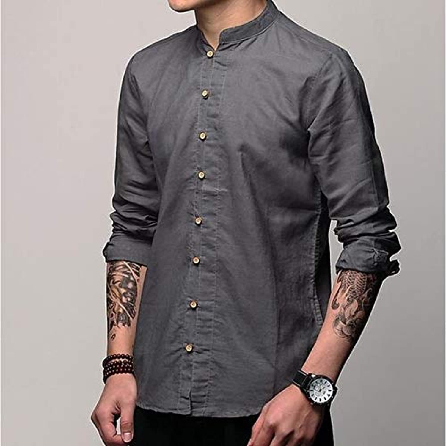 Men's Cotton Linen Shirt  Solid colord Short Sleeve