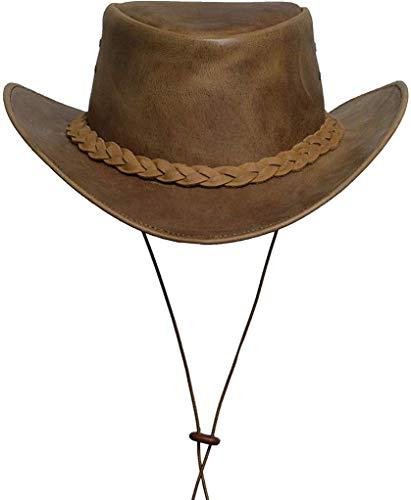 BRANDSLOCK Sombrero de vaquero para hombre, de piel auténtica, bajo ala ancha, estilo australiano, estilo occidental