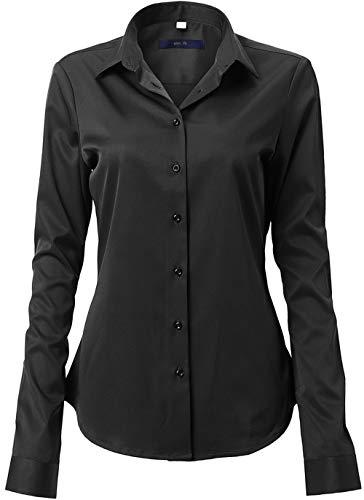 FLY HAWK Damen Hemd Bluse Basic Bambusfaser Hemdbluse Slim Fit Arbeitshemden Langarm Stretch Hemden Freizeit Business Elegant Hemd Größe 34 bis 52,Schwarz,40 (UK 12)