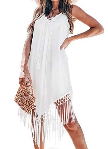 Vestido de Verano de Crochet y Espalda Abierta Pareos y Camisola con Borla Cubrir Traje de Baño de Playa para Mujer