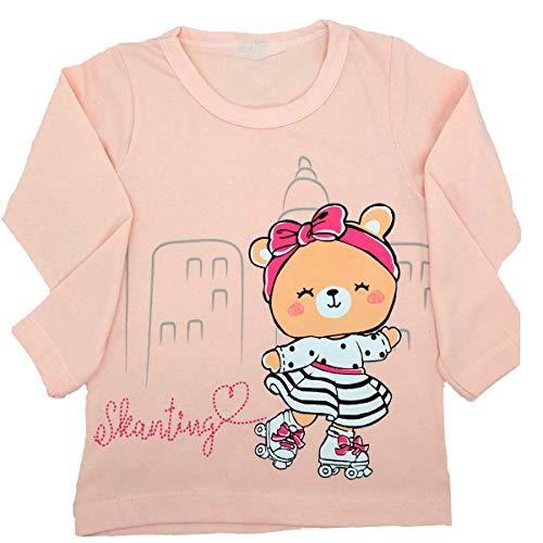 Camiseta Infantil Manga Longa Ursinho Menina - Roupa de Frio Feminina Roupa de Inverno (Rosa, 3 Anos)