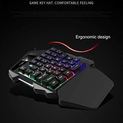 BB67 Wired 35 Keys LED Backlit USB Ergonomic Single Hand Keypad Gaming Keyboard, Console Game Online Game Best Matched Keyboard