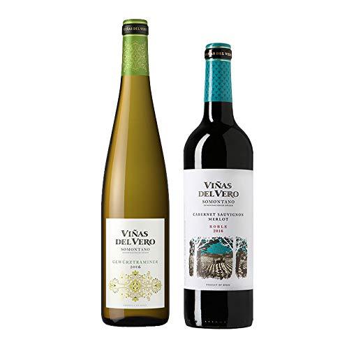 Vino blanco y tinto Viñas del Vero - D.O. Somontano - Mezclanza Gonzalez Byass (Pack de 2 botellas)