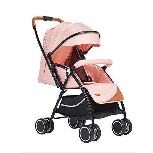 XXRUG Kombikinderwagen, Puppenwagen Buggy mit Liegeposition Baby Pram Travel Systems Kleinst UV-beständig erweiterbar Markise One Hand Folding,Rosa