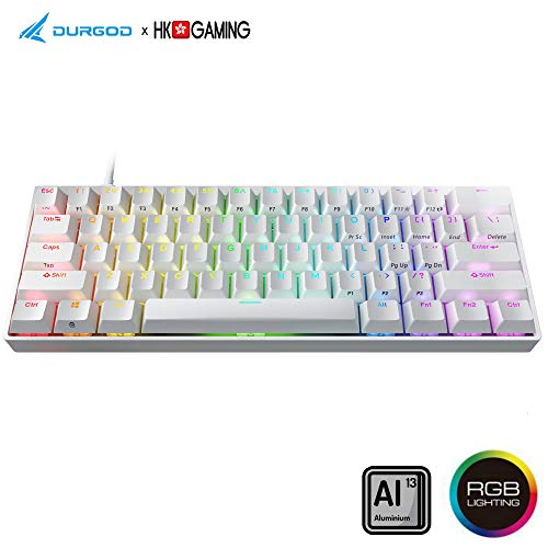 Durgod HK Venus RGB Mechanical Gaming Keyboard - 60% Layout - USB Type C - Aluminium Chassis (Cherry Silent Red, White)