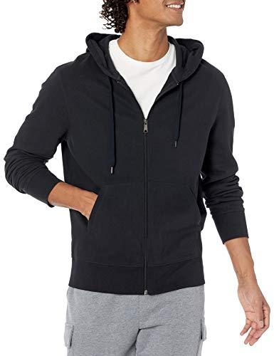 Amazon Essentials Lightweight French Terry Full-Zip Hooded Sweatshirt Felpa con Cappuccio, Nero, L