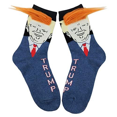 Sanheng rational 1 Paar 2020 President Donald Trump Socken 3D Fake Yellow Perücke Haar Unisex Crew Socken Skateboard Funny Socken Einheitsgröße H03