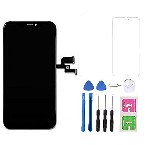 for iPhone Xs Max LCD Screen Replacement Screen Touch, LCD Display Digitizer Assembly Touch Screen and Frame, Repair Tool Kit with Tempered Glass (Black)