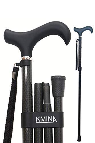 KMINA - Bastones plegable para mayores, Bastones para ancianos, Baston plegable mujer/hombre, Bastón elegante, PRO Fibra Carbono Plegable