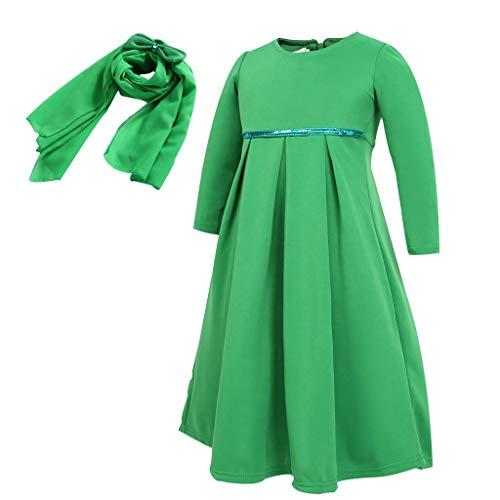 sunnymi  - Vestido para niña de 0 – 12 años, de Ramadan, musulmán, Abaya, Dubai, Vestido para Ropa Tradicional Verde 10-11 Años