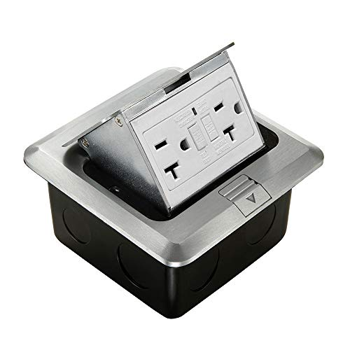 Pop Up Floor Electrical Outlet Kitchen Countertop UL Listed Pop Out GFCI Receptacle Box Cover with Waterproof Socket 20A Silver