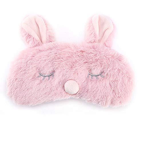 iFCOW Augenmaske für Frauen Mädchen Damen Kinder niedliche Tier-Schlafmaske Weihnachten Hirsch Winter Karton Nickerchen Leichte Rosa Kaninchen