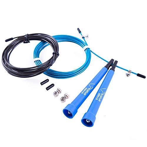 Ryher Cuerda para Saltar Kit - Comba Crossfit, Fitness y Ejercicio (Azul)