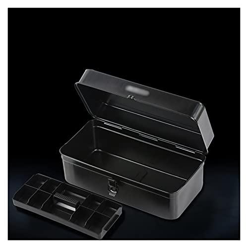 Cajas de herramientas Metal Caja de herramientas para el hogar Pequeño Hardware Organizadores y estuche de almacenamiento Multifunción Espesar Maleta de hierro con bandeja extraíble Almacenamiento mul