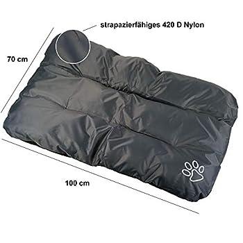 Cepewa Coussin pour chien XL 100 cm x 70 cm en nylon 420D solide gris lavable et confortable