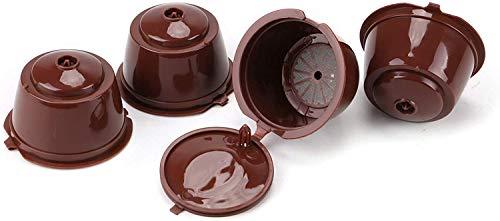 JUEYAN 4X Cápsulas de Café Reutilizables Recargable con Filtro Compatible Cápsulas de Café Libre BPA para Dolce Gusto + 1 Cuchara
