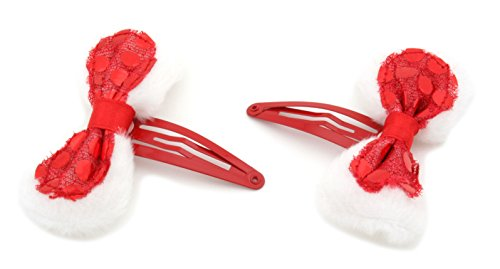 2 Christmas Fluffy Red Sequinned Bow Sleepie Hair Clips Slides by Zest by Zest